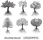 collection of trees with roots | Shutterstock .eps vector #150209951