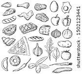 set of food. vector cartoon... | Shutterstock .eps vector #1502123441