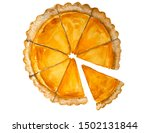 Watercolor Sliced Pumpkin Pie....