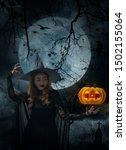Halloween Witch With Pumpkin...