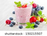 raspberry smoothie with fresh... | Shutterstock . vector #150215507