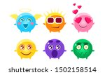 colorful glossy balls cartoon... | Shutterstock .eps vector #1502158514