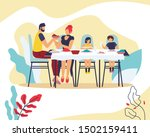 happy family sitting at table... | Shutterstock .eps vector #1502159411