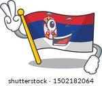 two finger serbia flag flown on ... | Shutterstock .eps vector #1502182064