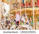cute happy blonde little girl...   Shutterstock . vector #1502219051
