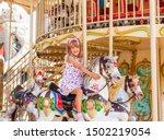 cute happy blonde little girl...   Shutterstock . vector #1502219054