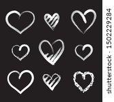 hearts  vector set.  chalkboard ... | Shutterstock .eps vector #1502229284
