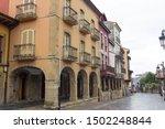 Aviles, Spain; 06/14/2018 : Arcades and columns famous ancient city of Aviles Spain