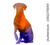 Stock vector vector on a white background watercolor silhouette of a dog 1502270054
