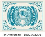 old logo with floral frame and... | Shutterstock .eps vector #1502303201