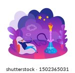 young man enjoy smoke a hookah...   Shutterstock .eps vector #1502365031
