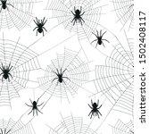black spider silhouette on web. ... | Shutterstock .eps vector #1502408117