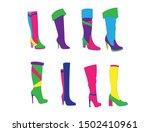 beautiful women winter stylish...   Shutterstock . vector #1502410961