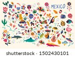 map of mexico with traditional... | Shutterstock .eps vector #1502430101