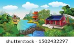 the scenery of the ancient...   Shutterstock .eps vector #1502432297