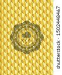 rain icon inside gold shiny... | Shutterstock .eps vector #1502448467