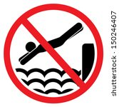no diving and jumping sign | Shutterstock .eps vector #150246407