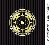 eye icon inside gold badge or... | Shutterstock .eps vector #1502475014
