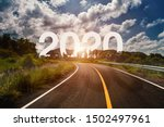 the word 2020 behind the tree... | Shutterstock . vector #1502497961