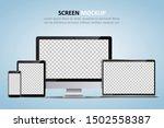 screen mockup. computer monitor ... | Shutterstock .eps vector #1502558387