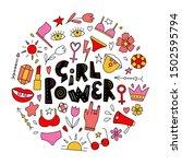 circle badge of girl power  ... | Shutterstock .eps vector #1502595794