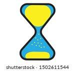 blue sandglass and yellow sand... | Shutterstock .eps vector #1502611544