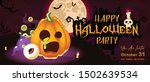happy halloween night party... | Shutterstock .eps vector #1502639534