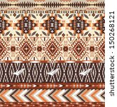 Seamless colorful aztec geometric tribal pattern - stock vector