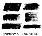 Brush strokes. Vector paintbrush set. Grunge design elements. Rectangle text boxes or speech bubbles. Dirty distress texture banners. Ink splatters. Grungy painted badges.