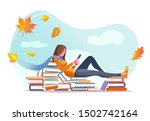 girl reading  sitting on stacks ... | Shutterstock .eps vector #1502742164
