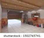 garage interior with open door  ...   Shutterstock . vector #1502765741