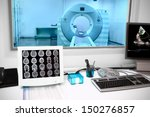 Stock photo in ct laboratory observation room in an office with a computer tomograph 150276857