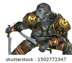 orc warrior with swords close... | Shutterstock . vector #1502772347