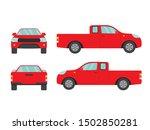 set of red pickup truck on... | Shutterstock .eps vector #1502850281
