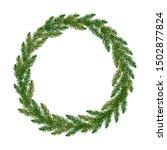 wreath from fir tree branches.... | Shutterstock .eps vector #1502877824