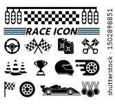 Racecourse And Race Car Icon...