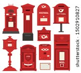 Red English Post Box Set With...