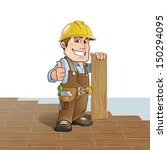 carpenter installing wood... | Shutterstock .eps vector #150294095