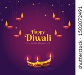 happy diwali hindu festival... | Shutterstock .eps vector #1503072491