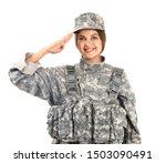 Saluting Female Soldier On...