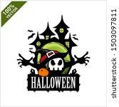 halloween skull castle vector... | Shutterstock .eps vector #1503097811