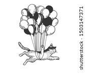 cat animal flies on air... | Shutterstock .eps vector #1503147371