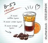 b 52 cocktail  vector sketch...