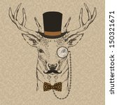 Fashion Illustration Of Deer...