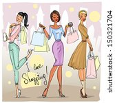 Happy Young Women With Shoppin...
