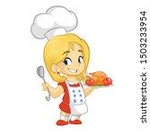Cartoon Cute Little Blond Girl...