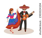 dancing couple in mexican folk... | Shutterstock .eps vector #1503324104