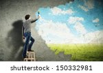 young man drawing a cloudy blue ... | Shutterstock . vector #150332981