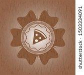 pizza slice icon inside wood... | Shutterstock .eps vector #1503334091