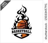 basketball ball flame badge... | Shutterstock .eps vector #1503345791